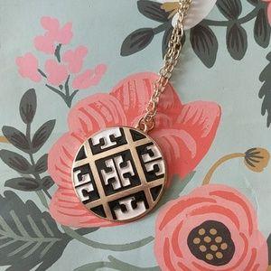 Long black and white enamel pendant necklace